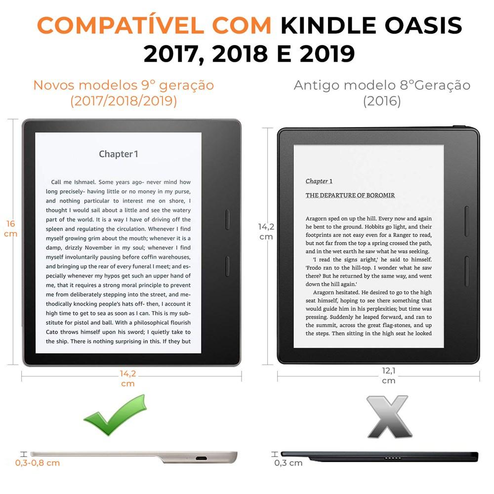 Capa Kindle Oasis WB Auto Liga/Desliga - Couro