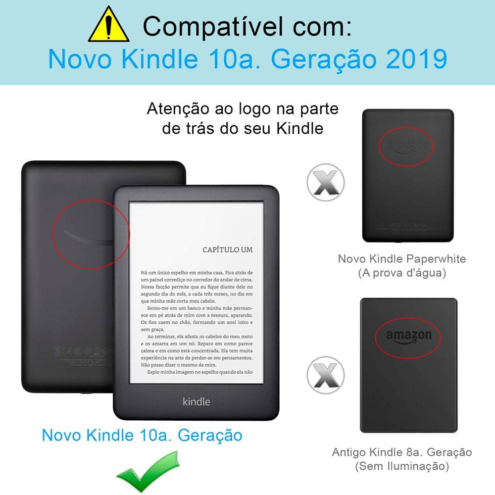 Capa Novo Kindle 10ª Geração WB® - Auto Hibernação Sensor Magnético Couro Premium Silicone Flexível Preta
